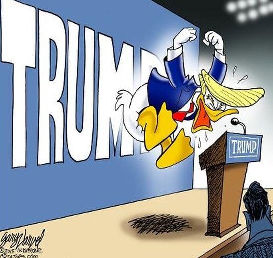 Cartoonist Gary Varvel: Donald Trump as an angry Donald Duck